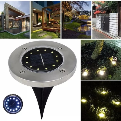 12 LED Solar Ground Lights Decorate Aisle In The Garden