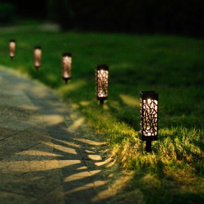 Outdoor LED Solar Powered Path Stake Lanterns Lamps Garden LED Carved Lawn Light Solar Light Pathway Combo